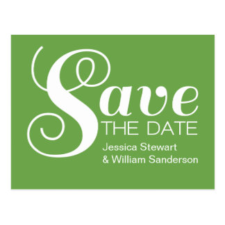 Chic Typography Save the Date Postcard, Green Postcard