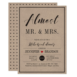 Chic Typography Wedding Rehearsal Dinner Card