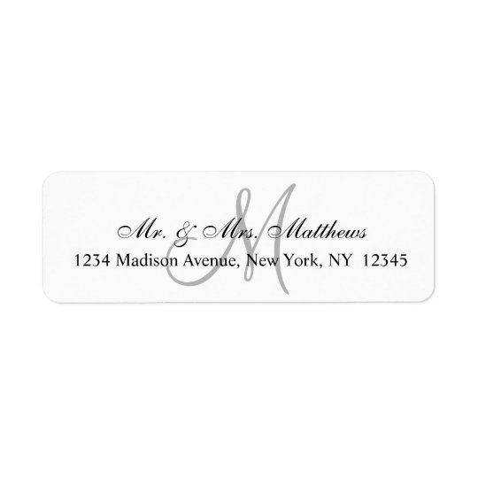 Chic Unique Monogram Wedding Return Address Label