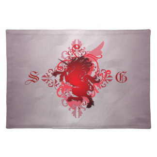 Chic Urban Fantasy Monogram Red Unicorn Placemats