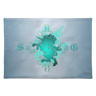Chic Urban Fantasy Monogram Teal Unicorn Placemats