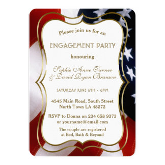 Chic USA Flag Gold Engagement Party Invite