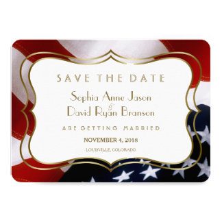 Chic USA flag Gold  Wedding Save The Date Card