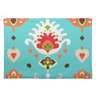Chic vibrant turquoise  tribal ikat print placemat