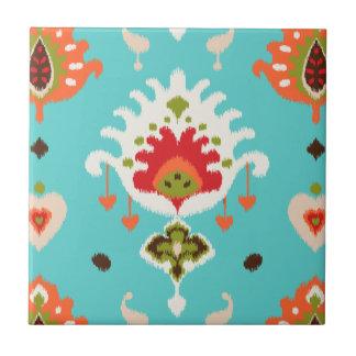 Chic vibrant turquoise  tribal ikat print tile