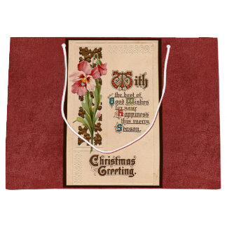 Chic Vintage Christmas Greeting On Antique Red Large Gift Bag