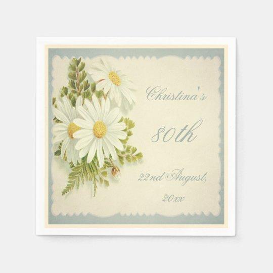Chic Vintage Daisies 80th Birthday Serviettes Paper Napkin
