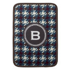 Chic vintage dark grey houndstooth plaid monogram sleeve for MacBook air