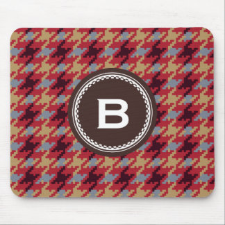 Chic vintage dark red houndstooth plaid monogram mouse pad