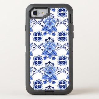 Chic Vintage Dutch Delft Blue Floral Pattern OtterBox Defender iPhone 8/7 Case