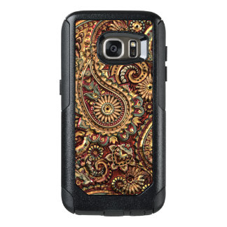 Chic Vintage Faux Gold Paisley Floral Pattern OtterBox Samsung Galaxy S7 Case