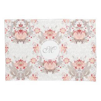 Chic Vintage Floral Damask Monogram Pillow Case