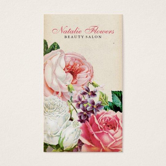 Chic vintage floral elegant pink roses beige paper