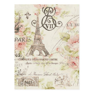 Chic Vintage Floral Paris Eiffel Tower Postcard