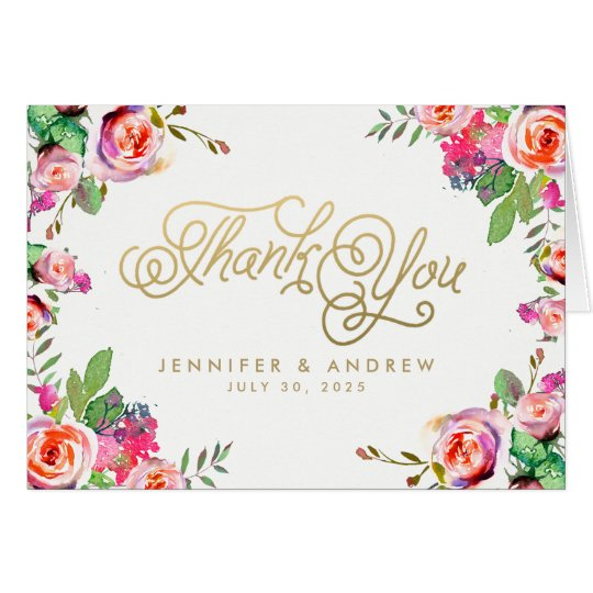 Chic Vintage Floral Wreath Gold Thank You Card