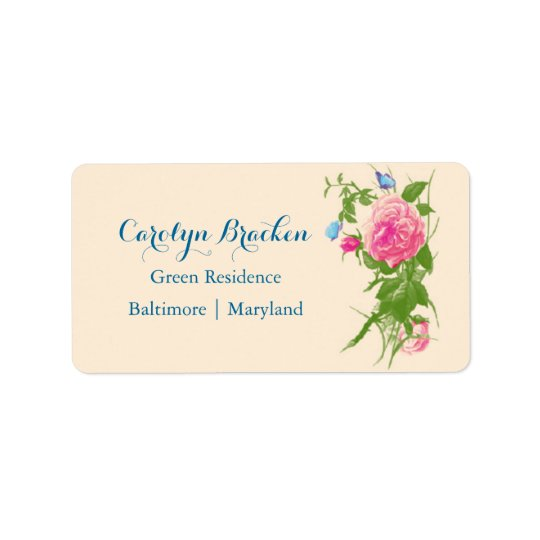 Chic Vintage Flowers | Roses | Butterfly Address Label