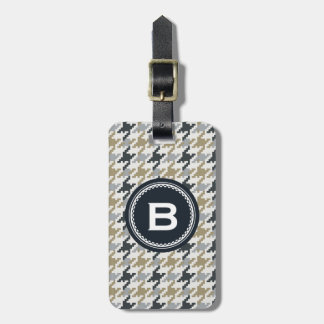 Chic vintage grey houndstooth plaid monogram luggage tag