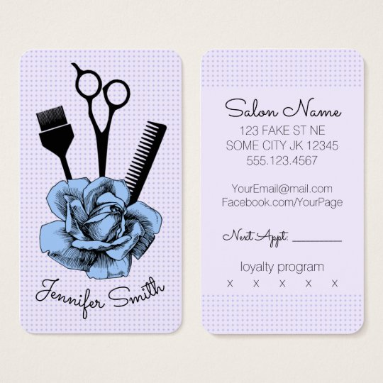 chic vintage hairstylist hair stylist blue rose business