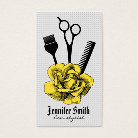 chic vintage hairstylist hair stylist yellow mod business card