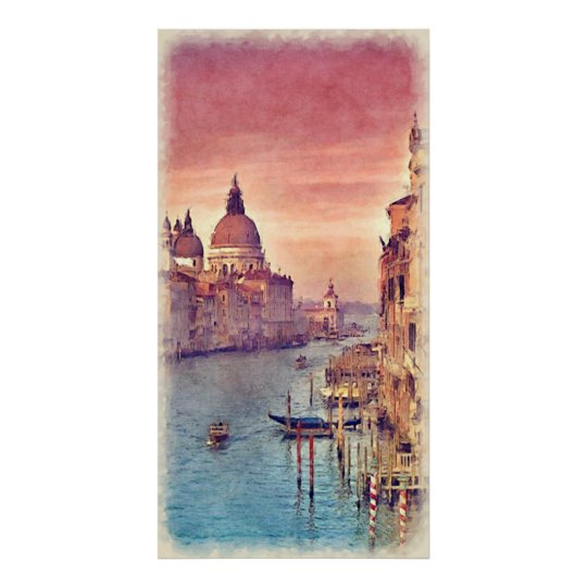 Chic Vintage Italy Venice Canal Pastel Watercolor Poster