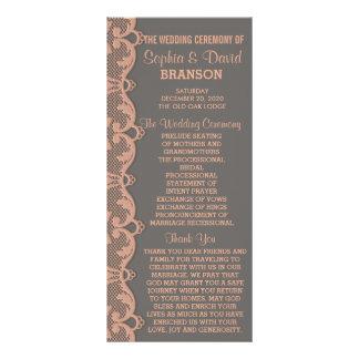 Chic Vintage Peach Grey Lace Wedding Program Rack Card