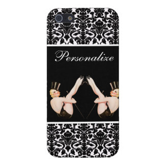 Chic Vintage Pin Up Show Girls on Damask Case For The iPhone 5