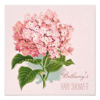 Chic Vintage Pink Hydrangea Flower Baby Shower 13 Cm X 13 Cm Square Invitation Card