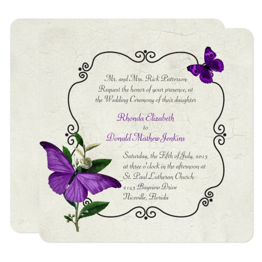 Chic Vintage Purple Butterflies Wedding Invitation