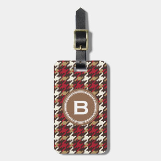 Chic vintage red brown houndstooth plaid monogram luggage tag
