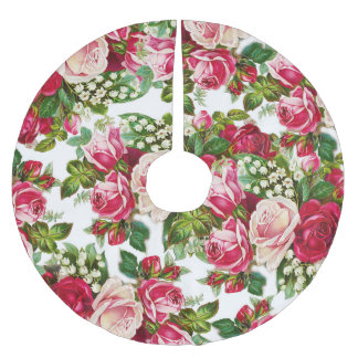 Chic vintage red pink roses flowers pattern brushed polyester tree skirt