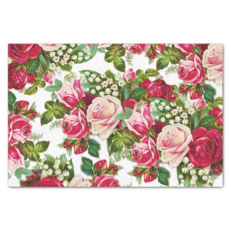 Chic vintage red pink roses flowers pattern tissue paper