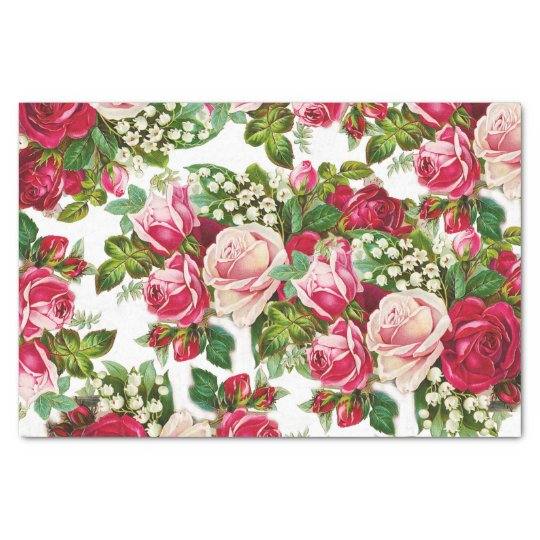 Chic vintage red pink roses flowers pattern tissue