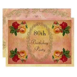 Chic Vintage Roses 80th Birthday 13 Cm X 18 Cm Invitation Card
