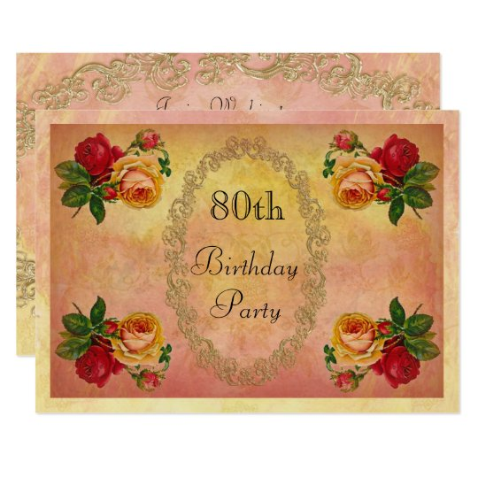 Chic Vintage Roses 80th Birthday Invitation