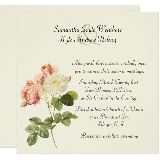 Chic Vintage Roses Wedding Invitation