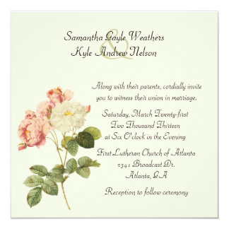 Chic Vintage Roses Wedding Invitation