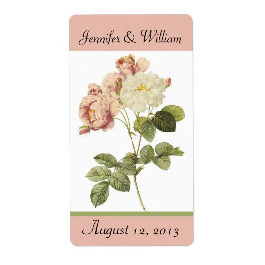 Chic Vintage Roses Wedding Mini Wine Label Shipping