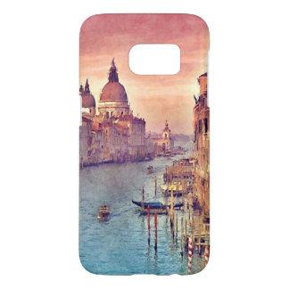 Chic Vintage Venice Canal Pastel Watercolor Art