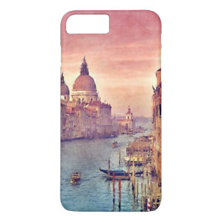 Chic Vintage Venice Canal Pastel Watercolor Art iPhone 8 Plus/7 Plus Case
