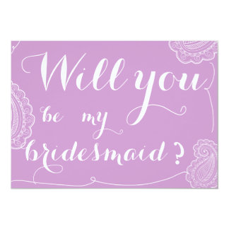 Chic Violet Paisley Will You Be My Bridesmaid Cards