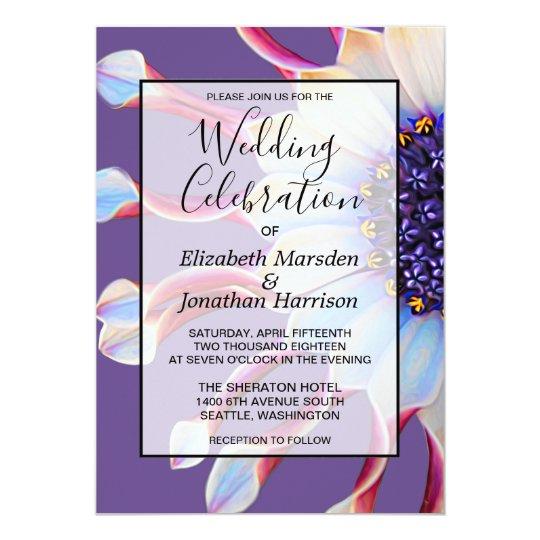 Chic Violet Purple Daisy Floral Elegant Wedding Card
