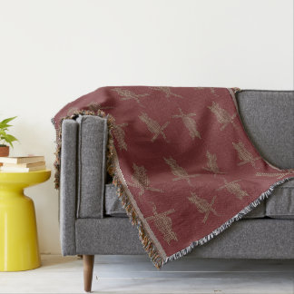 Chic Warm Comfy Funny Cats Burgundy Red  Blanket
