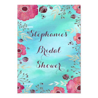 Chic Watercolor and Glitter Poppies Bridal Shower 13 Cm X 18 Cm Invitation Card