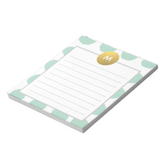 Chic Watercolor and Gold Monogram Min Notepad