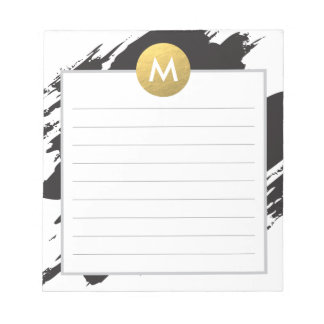 Chic Watercolor and Gold Monogram Notepad