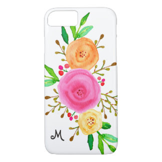 Chic Watercolor Botanical Floral Monogram iPhone 8/7 Case
