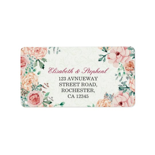 Chic Watercolor Botanical Floral Wedding Address Address Label