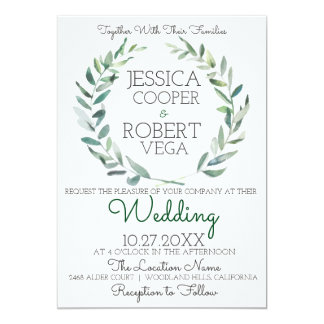 Chic Watercolor Branches Wedding Invitation