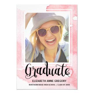 Chic Watercolor | Calligraphy Photo Graduation 13 Cm X 18 Cm Invitation Card