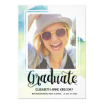 Chic Watercolor | Calligraphy Photo Graduation 13 Cm X 18 Cm Invitation Card